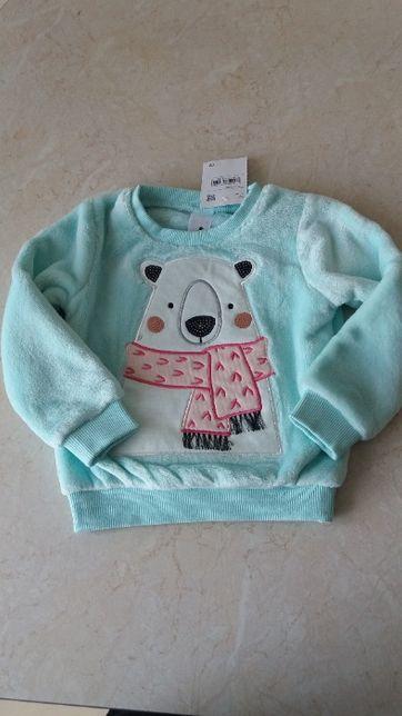 Nowa miętowa bluza futerko sweter miś cekiny 92 cm