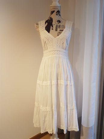 OFERTA PORTES - Vestido Branco com Renda de Algodão (Tamanho S)
