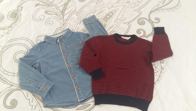 Zestaw koszula, sweter H&M roz 4-5lat chłopiec jak nowe