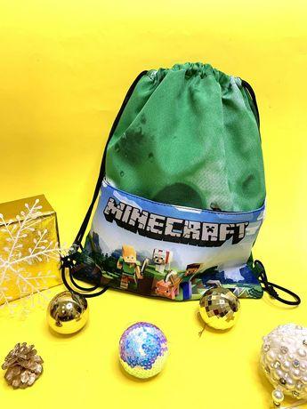 Сумка мешок рюкзак для сменной обуви сменки спорта Майнкрафт Minecraft