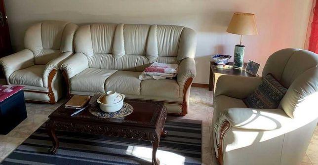 Terno de sofás em pele genuína com cama