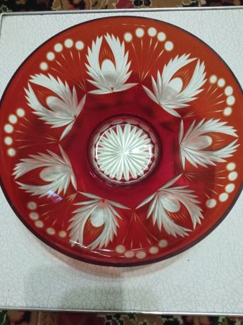 Ваза-конфетница двухцветный резной хрусталь