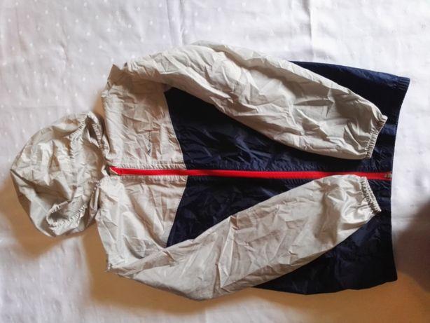 Kurtka przeciwdeszczowa Decathlon 14 lat szaro-granatowa