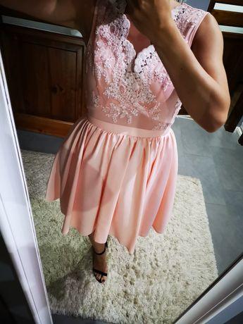 Piękna sukienka pudrowy róż rozm. M 38