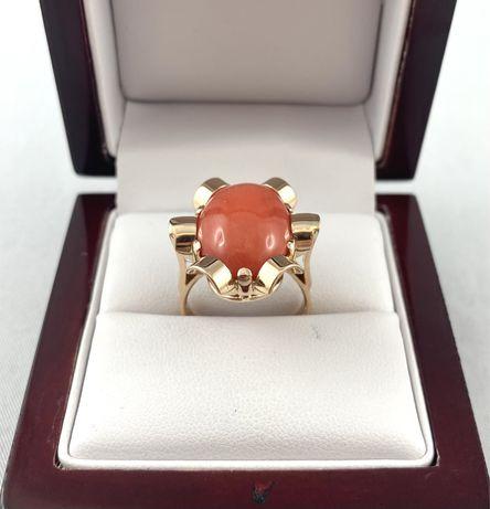 Przepiękny ZŁOTY pierścionek z koralem PR.585 rozmiar 13
