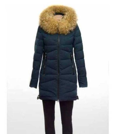 Пуховик/пальто с мехом енота