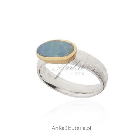 ankabizuteria.pl Piękny srebrny pierścionek z naturalnym opalem - saty