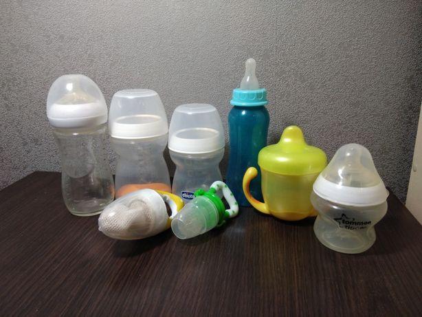 Бутылочки для кормления, поильник,  ниблеры и ложечка (chicco, avent)