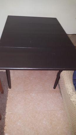 Mesa madeira  maciça preta dobravel em tamanho
