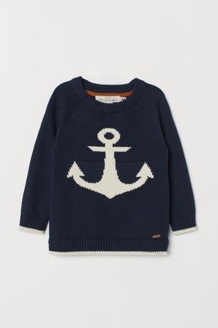 sweter z kotwicą H&M 110/116 NOWY bez metki