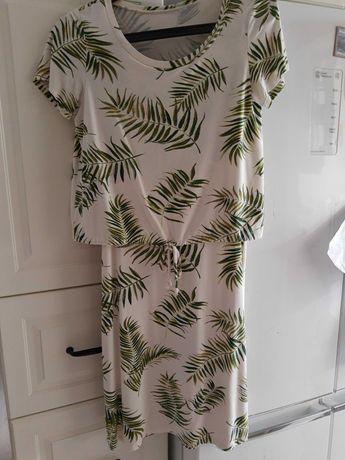 Sukienka do karmienia piersią H&M Mama XS S paprocie liście