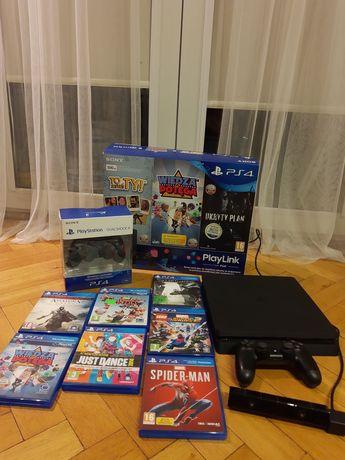 PS4 slim 500GB+2 pady dualshock+kamera PlayStation+16 gier