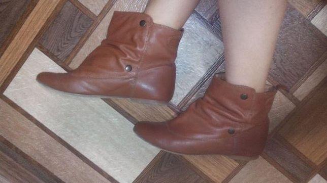 Демисезонные ботинки кожаные Zara Рыжие Коричн Размер 40 стелька 26 см