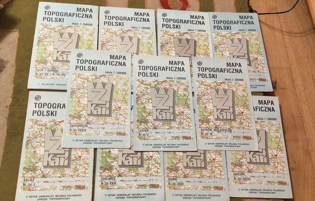 Mapy topograficzne Polski 30 sztuk