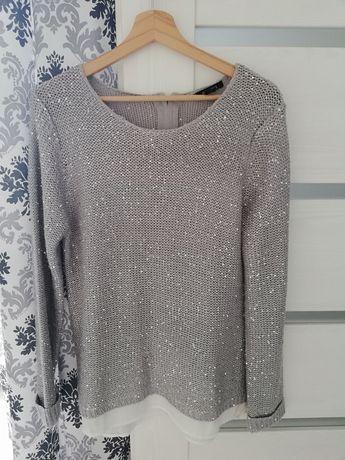 Sweterek 42/44 srebrne cekiny