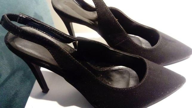 Półbuty New Look, obcas 7cm, nubuk, rozmiar 39, czarne