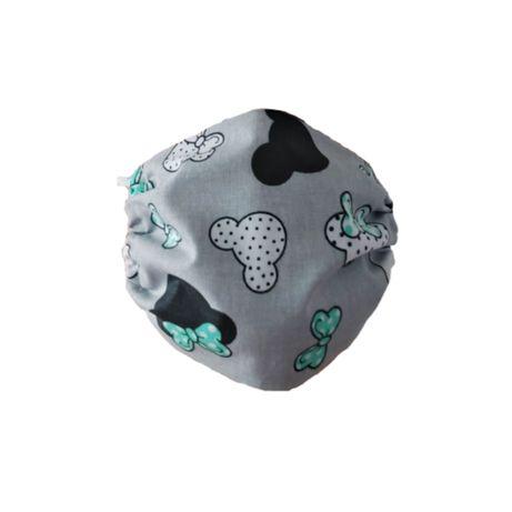 Maseczka ochronna bawełniana dla dzieci – Myszki z zielonymi kokardkam