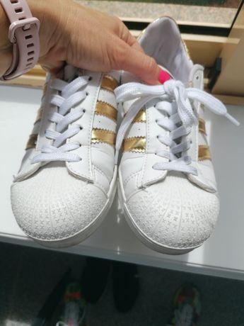 Sapatilhas brancas e douradas 37 superstar 6 eur