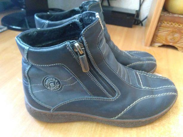 Ботинки кожаные, демисезонные для девочки, Bistfor 35-36р.