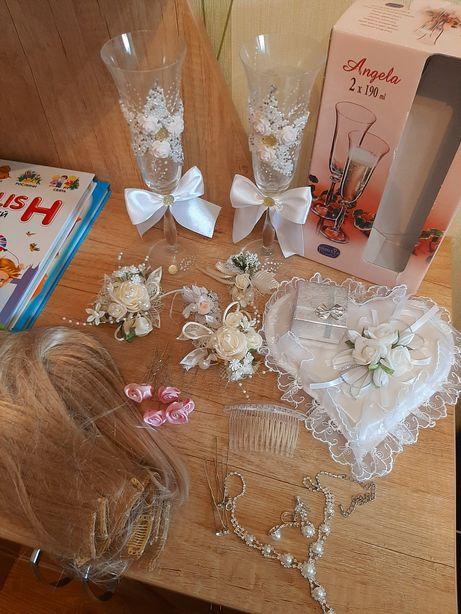 Свадьба бокалы и эксесуары , накладные волосы , колье , подушечка