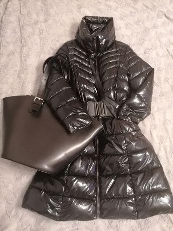 Mohito czarny, błyszczący płaszcz, kurtka roz M TANIO!!! Stan b.dobry
