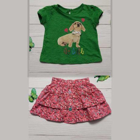 Детская футболка и юбка 12-18 мес для девочки