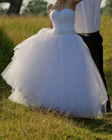 Suknia ślubna princeska śnieżnobiała