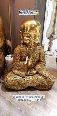 Estatueta Monge Dourado - 45x32x60cm By Arcoazul