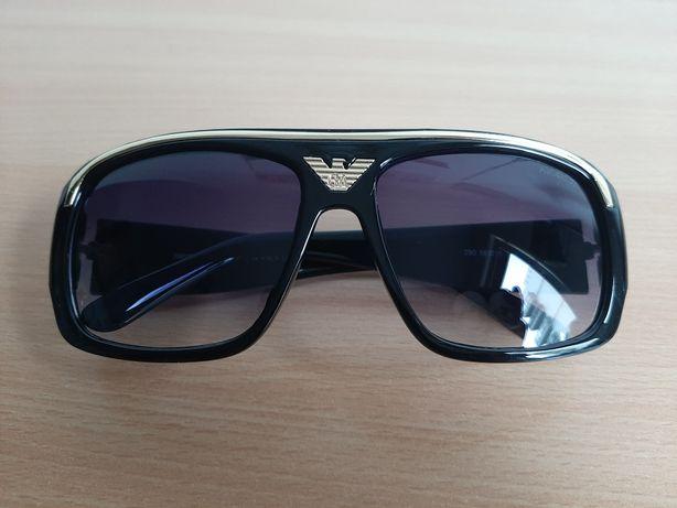 ARMANI okulary przeciwsłoneczne męskie czarne złota listwa