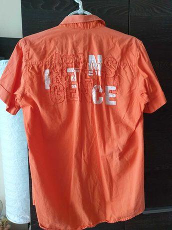Bawełniana pomarańczowa młodzieżowa koszula