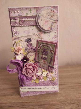 Kartka urodzinowa handmade dla kobiety, DL