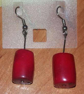 Kolczyki wiszące posrebrzane czerwone
