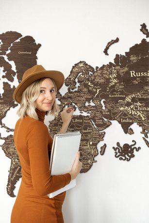 Деревянная карта мира / карта мира / карта мира на стену / подарок