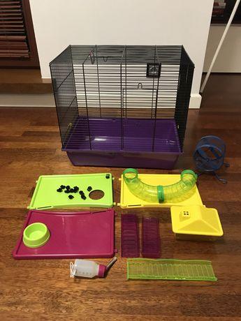 Duża klatka dla chomika/szczurka/myszek ze wszystkimi akcesoriami