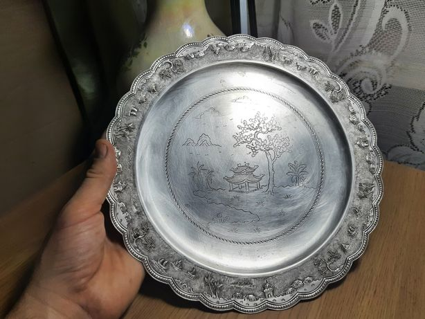 Поднос серебро, штихель, посеребрение