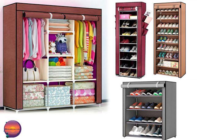 Складной тканевый шкаф 3 секции,полка для обуви на 8 Storage Wardrobe