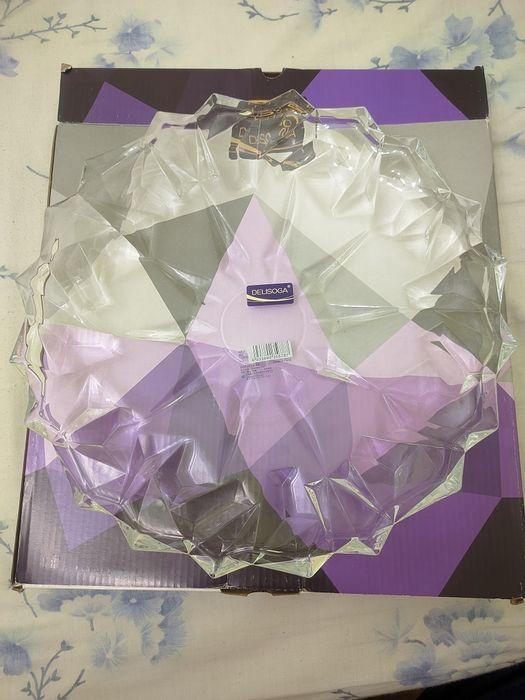 Блюдо стеклянное Delisoga Гранение Лед DSP2015-13, 34 см Одесса - изображение 1