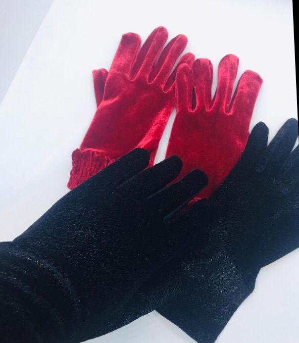Италия новые велюровые перчатки цвета черный и красный Харьков - изображение 1
