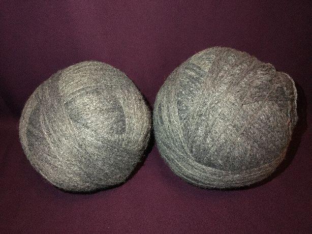 Нитки для вязания пряжа полушерсть серая
