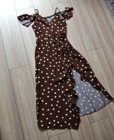 Sukienka midi asymetryczna w kropki Zara 34 XS