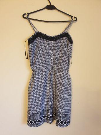 Valley Girl sukienka na ramiączkach czarno-biała z koronką guzikami