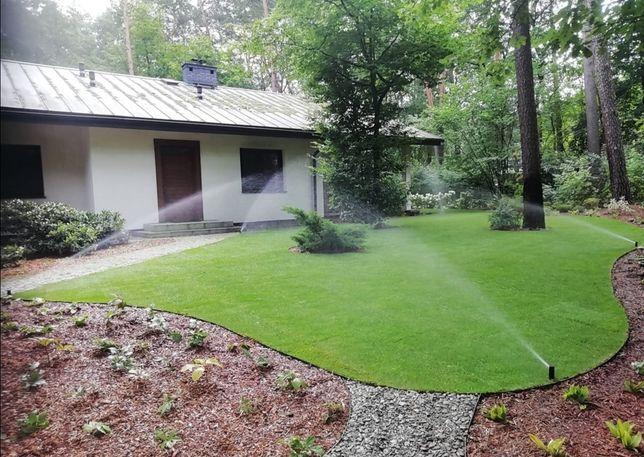 Drewniane tarasy trawa z rolki trawnik zakładanie ogrodów nawadnianie