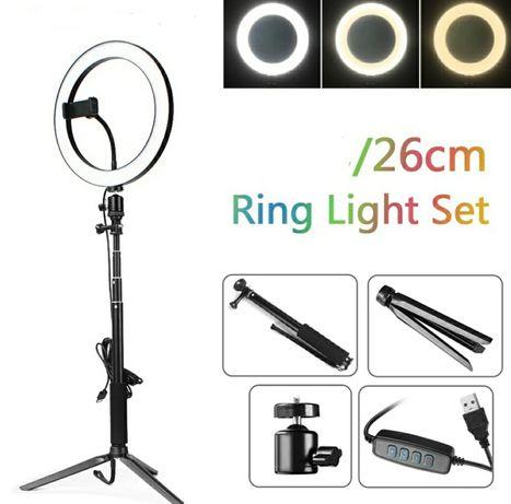 Anel de Luz Led com adaptador para telemóvel (26cm diâmetro) (Novo)