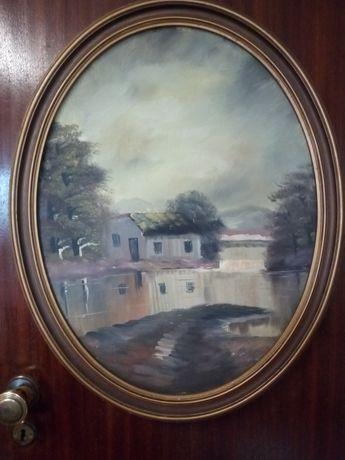 Antiga pintura de paisagem em óleo sobre platex com moldura