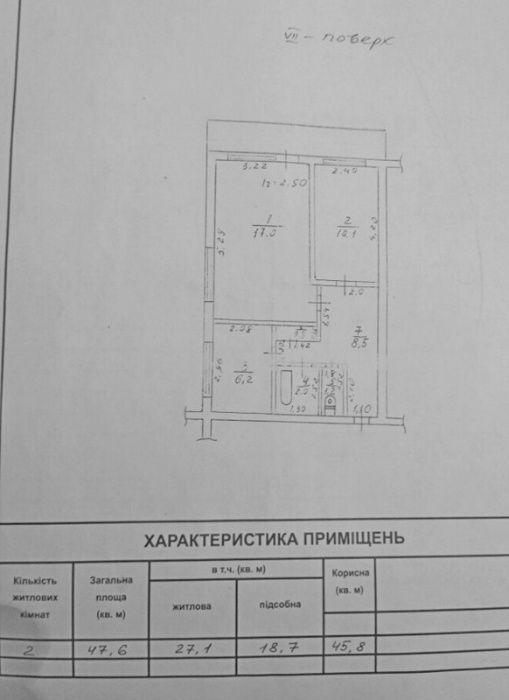 Срочно! 2- х комнатная квартира 7 эт кирпичный дом Вузовский Одесса - изображение 1