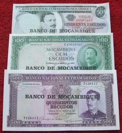 STARY MOZAMBIK Kolekcjonerskie Banknoty Zestaw - 3 sztuki UNC