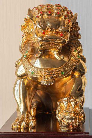 Китайская фигурка статуэтка сувенир Небесный лев Будда СобакаФу золото