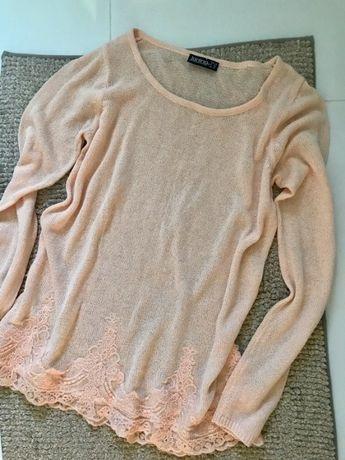 Nowy sweter damski koronkowy S 36 luźny elegancki z długim rękawem