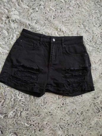 Czarne jeansowe szorty krótkie spodenki wysoki stan szarpane S 36