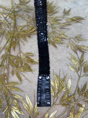 Пояс ремень ремешок черного цвета чёрный с блестками